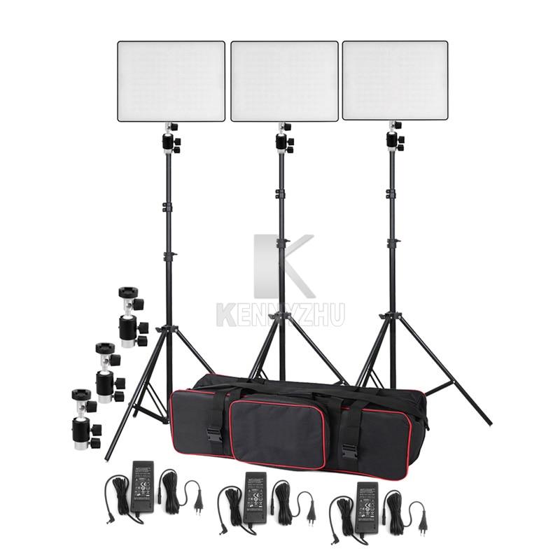 3x Yongnuo YN600 Air Ultra thin Led Video Light Lighting Kit Bi color 3200 5500K Light