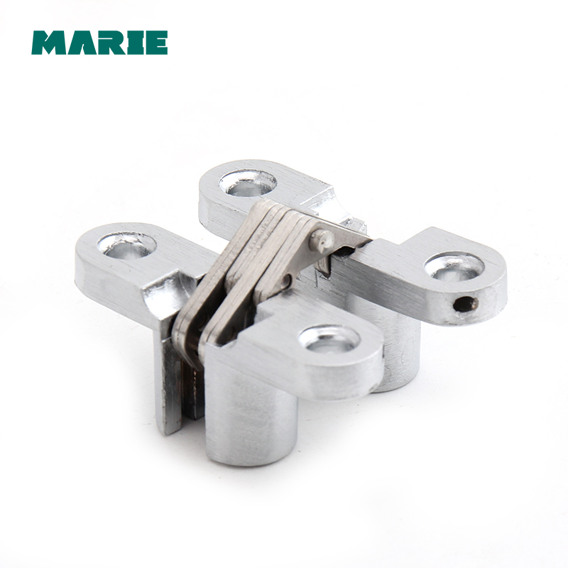 A Pair Of Small Size Cross Concealed Hinge Bright Chrome Zinc Alloy Suitable for Door цена
