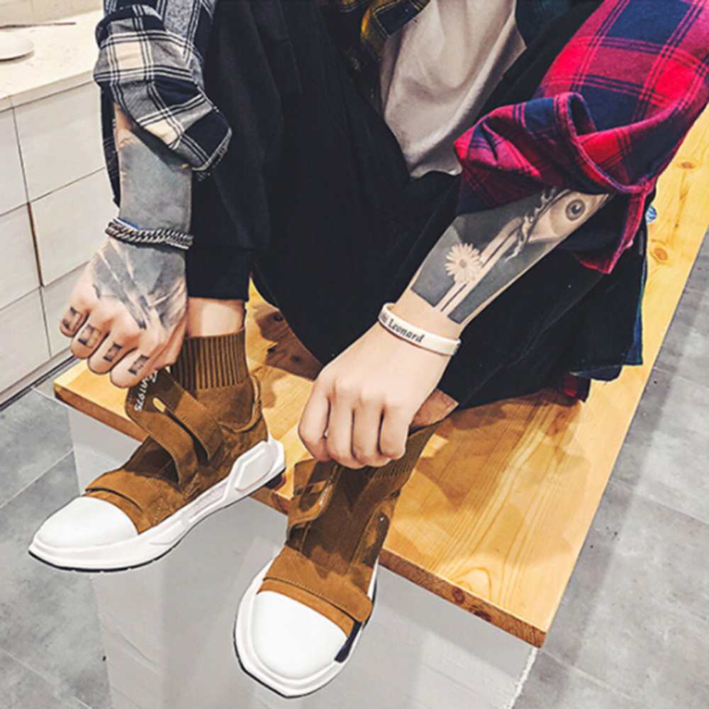 Básico Sapatos 2019 Casuais Alta Desgaste slip Ar De Nova Couro top Livre Homens Botas cinza resistente Preto Não Ao Inverno brown Moda Dos 8Zq6x4wf
