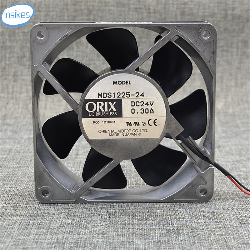 MDS1225-24 Aluminum Inverter Double Ball Bearing Cooling Fan DC 24V 0.3A 12025 12CM 120*120*25mm 2 Wires ffb1324vhe b inverter double ball bearing cooling fan ffb1324vhe dc 24v 14 4w 0 9a 3050rpm 12738 127 127 38mm 12cm