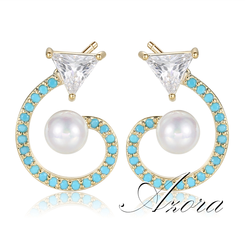 Fashion Cute Fox Tail Shape Blue Resin Stud Earring for Women with Clear Cubic Zirconia Pearl Fashion Jewelry