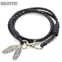 Niuyitid черного цвета из искусственной кожи Для мужчин серебряный браслет Перо Интимные аксессуары Модные украшения человек браслет для браслет мужской Шарм