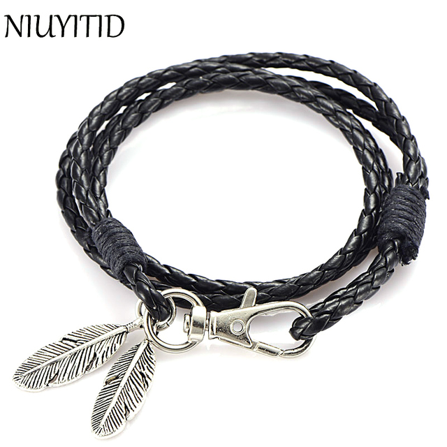 Niuyitid Black Pu Leather Men Bracelet Silver Feather Accessories Fashion Jewelry Man For Wristband Male