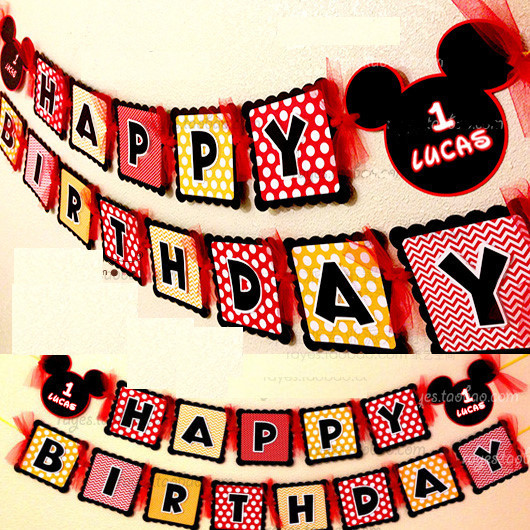 Make Your Own Mickey Mouse Happy Birthday Party Paper Flag