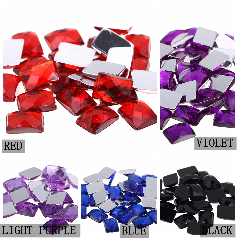 Rectangle Shape Earth Facets 6x8mm 50pcs Acrylic Rhinestones Flatback Glue  On Beads DIY Crafts Wedding Clothes Decorations-in Rhinestones from Home    Garden ... 0a71231a3ef8