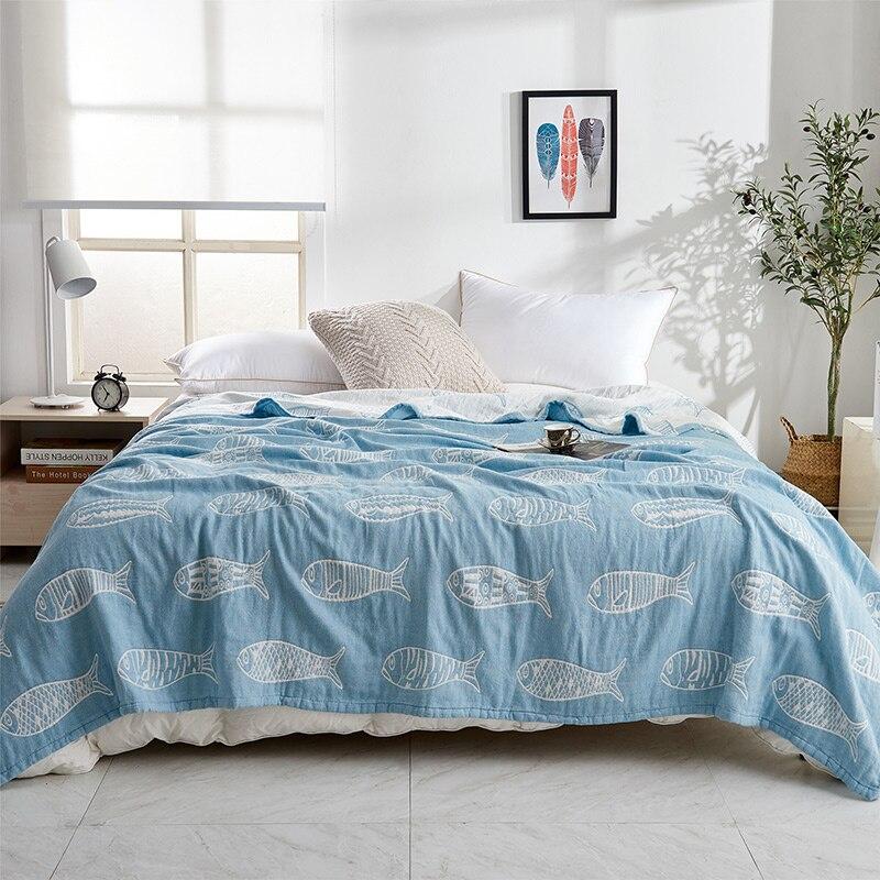 IDouillet doux respirant confortable coton mousseline jeter couverture adulte animaux poissons enfants bambin lit combinaison Twin/complet/reine