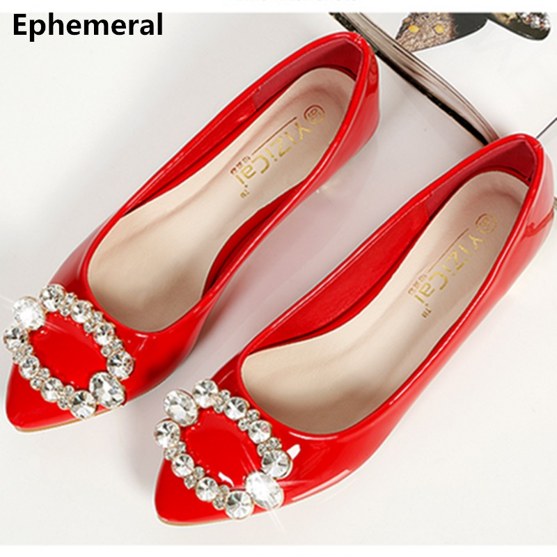 Ladies luxury crystal rhinestone evening shoes flats pointed toe stiletto low heel loafers breathable patent leather size 42 9 pu pointed toe flats with eyelet strap