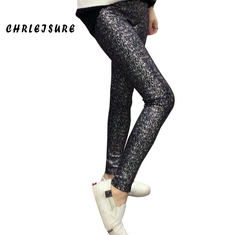 CHRLEISURE Leggings Women Fashion Sexy Sequins Shiny Black Spring Summer Low Waist Trendy Puck Rock Fashion Leggings Women