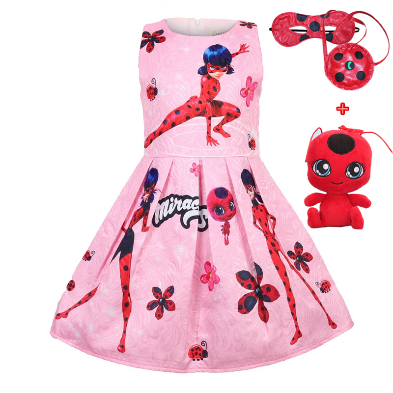 Lady Bug Red birthday Party Dress Miraculous Ladybug Halloween Cosplay Dresses Christmas gift Pretty Costume Kids Girls Clothes kids miraculous ladybug cat noir cosplay miccostumes costume with mask ladybug black romper bodysuit halloween tight jumpsuit