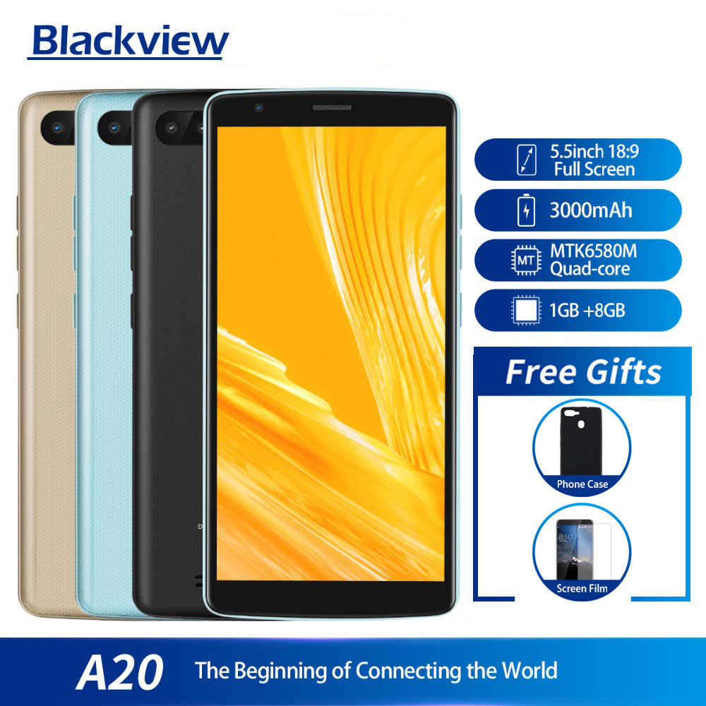 Blackview A20 Smartphone 1GB RAM 8GB ROM MTK6580M Quad Core Android GO 5.5inch 18:9 Screen 3G Dual Camera Mobile PhoneBlackview A20 Smartphone 1GB RAM 8GB ROM MTK6580M Quad Core Android GO 5.5inch 18:9 Screen 3G Dual Camera Mobile Phone