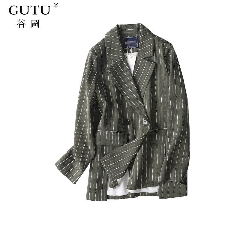 [GUTU]2017 Autumn New Wild Loose Temperament Vertical Stripes Long Sleeve Double Breasted Long Suit Jacket Woman E82806