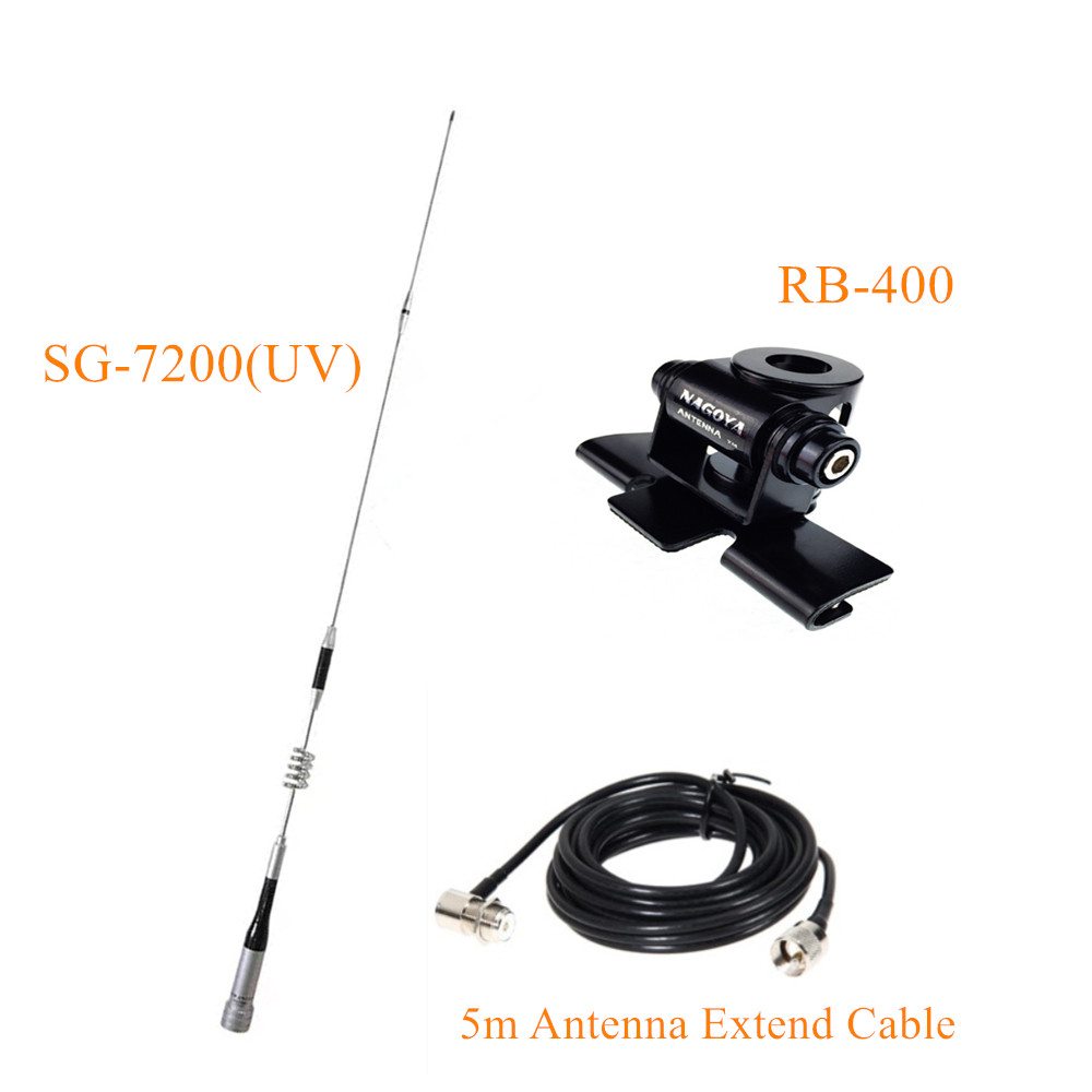 Mobile Antenna UHF/VHF Dual Band SG-7200+ Stainless Car Clip Mount Kit RB-400 + 5M Cable For KT-8900 KT-980 Mobile Car Radio