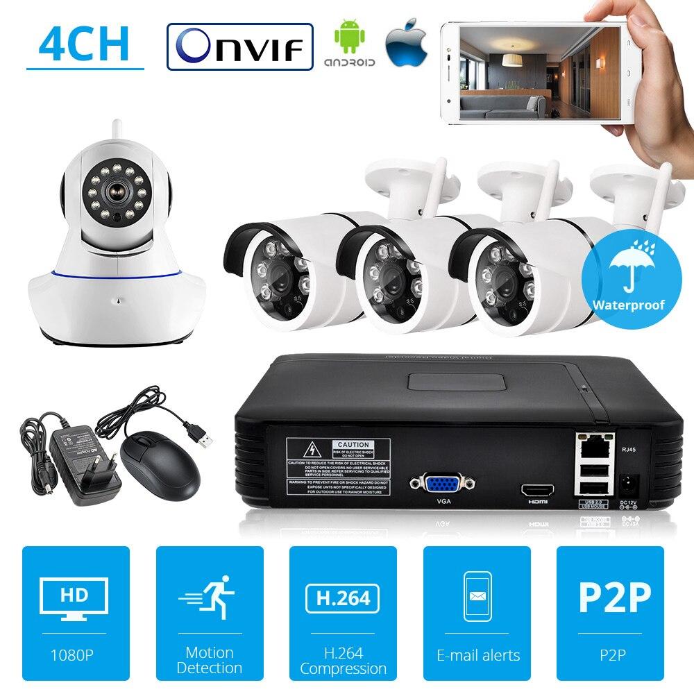 Sistema de cámara de seguridad KERUI NVR Kit Full HD 4 canales de seguridad CCTV NVR ONVIF WiFi sistema de cámara con cámara de vídeo IP al aire libre
