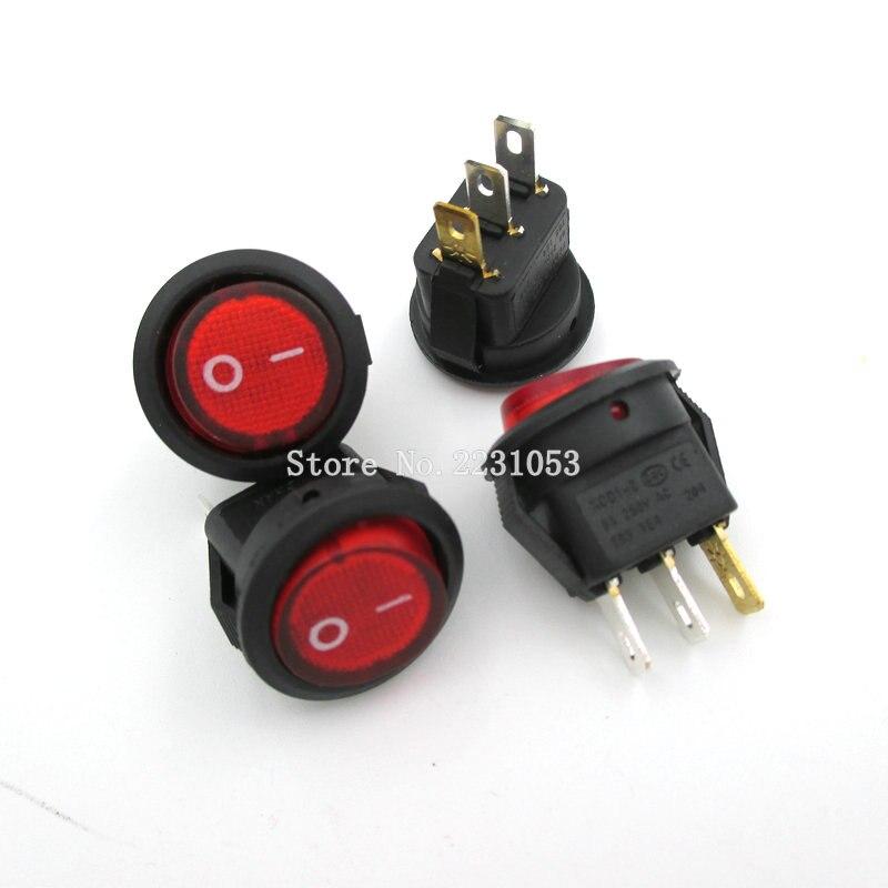 5PCS/LOT Mini Red Light Switch ON-OFF SPST Round Rocker Switch 6A/250V 10A/125V AC KCD1-2 16mm Diameter