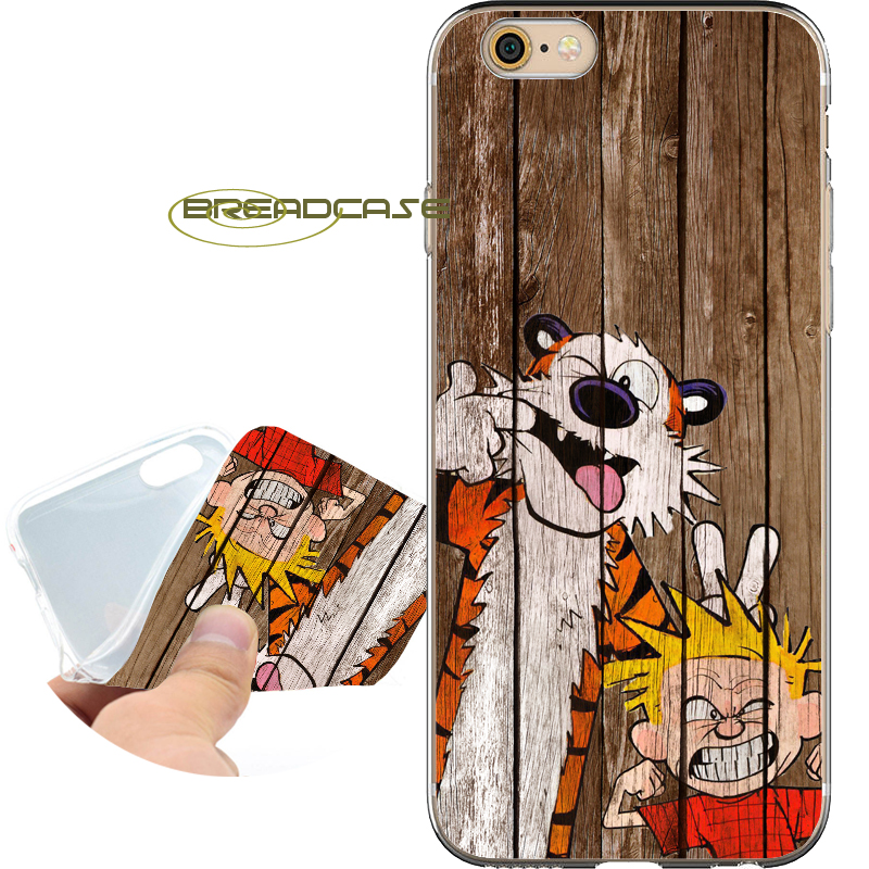 Coque Cartoon Calvin Hobbes Soft Clear TPU Silicone Phone Cases for iPhone X 8 7 6S 6 Plus 5S SE 5 5C 4S 4 iPod Touch 6 5 Cover.