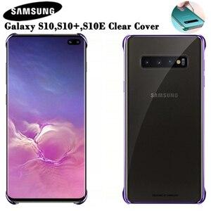 Image 1 - SAMSUNG orijinal telefon kapak için Samsung Galaxy S10 S10Plus S10 X S10E SM G9700 SM G9730 G9750 şeffaf sert kabuk telefon kılıfı