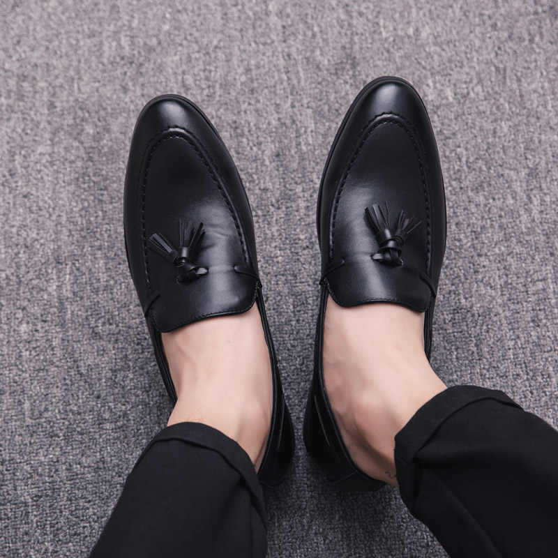 HANBINGPO 2019 Men Casual Shoes Breathable Leather Loafers Office Shoes for Men Driving Moccasins Comfortable Slip on Fashion Shoes MA-23,Black,43