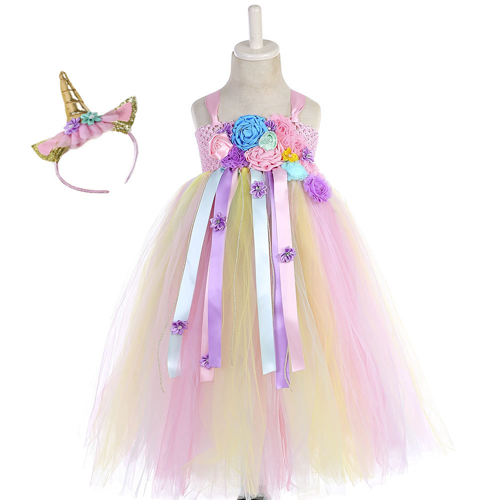 Kids Pony Unicorn Floor Length Tutu Dress Vestidos Girl Pastel Princess Flower Girl Dress for Christmas Halloween Birthday Party the pony mad princess princess ellie s christmas