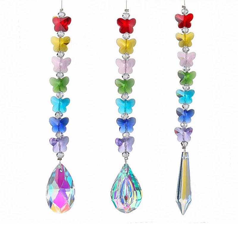 H&D 3pcs/set Chakra Pendant Crystal Suncatcher Prisms DIY Chandelier Rainbow Maker Hanging Parts Home Wedding Hanging Decoration