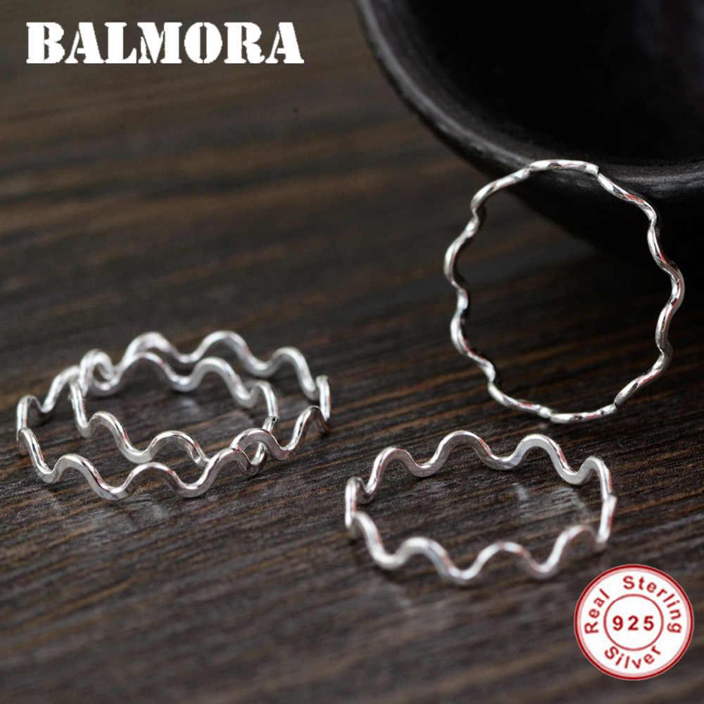 BALMORA 1 قطعة 100% ريال 925 فضة فوق المفصل خواتم الاصبع للنساء فتاة الكلاسيكية مجوهرات الأزياء Anillos SY22074