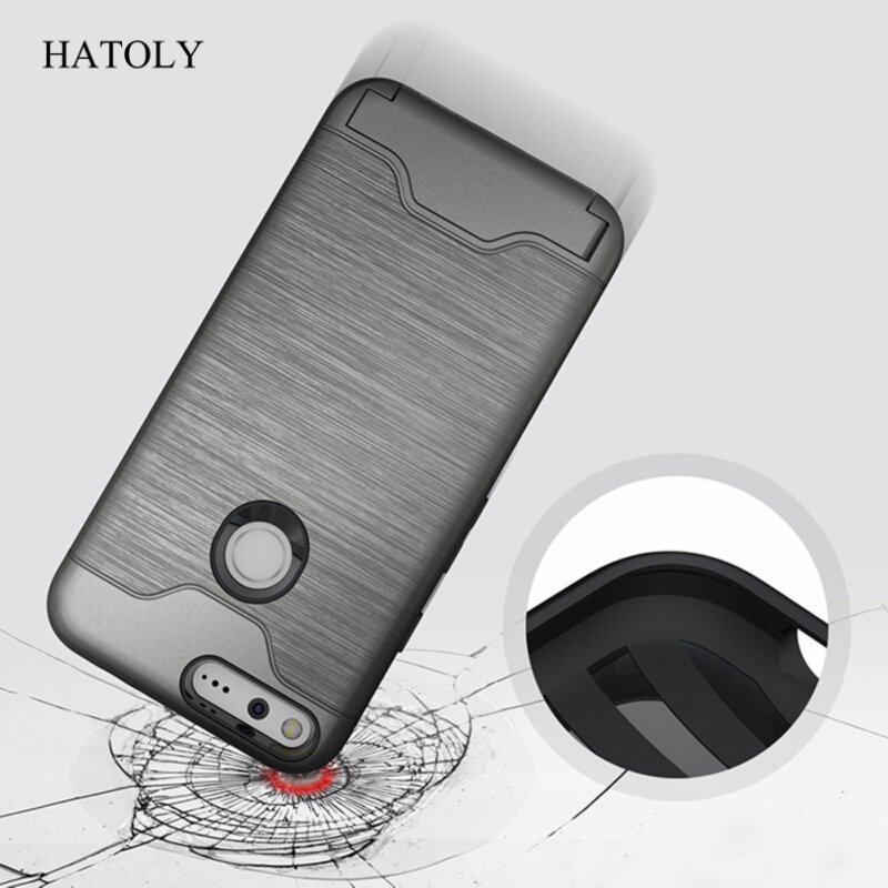 uk availability cecb5 be3fa HATOLY For HTC Google Pixel Case Brushed Shockproof Rubber Silicone Cover  For Pixel 5 Inch Kickstand Phone Case With Card Holder