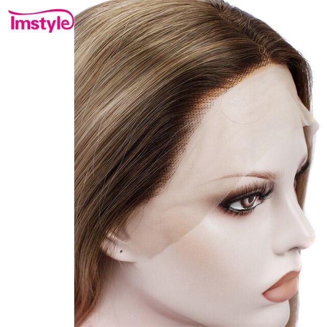 Perruque Lace Front Wig synthétique Blonde brune-Imstyle | Perruques naturelles lisses, perruque en Fiber de haute température pour femmes, perruque quotidienne