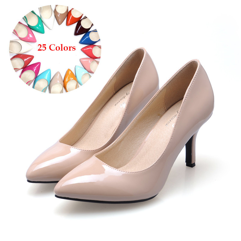 Spring Classic Patent Leather Sexy High Heel Shoes Women Pumps Wedding Party Thin Heel Pointed Toe Woman Shoes Plus size 34-41 bowknot pointed toe women pumps flock leather woman thin high heels wedding shoes 2017 new fashion shoes plus size 41 42