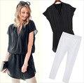 Mulheres Chiffon blusa + calças Capris Strechable 2855