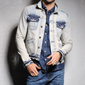 High Quality Denim Jacket Mens Fashion Jeans Jackets Vintage Washed Ripped Slim Fit Men Jacket Coat Jeans Clothing