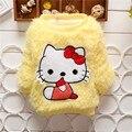 BibiCola Девочка свитера Дети с длинным Рукавом hello kitty толстый пуловер Дети розовый цвет теплая зимняя одежда для 2-5 лет