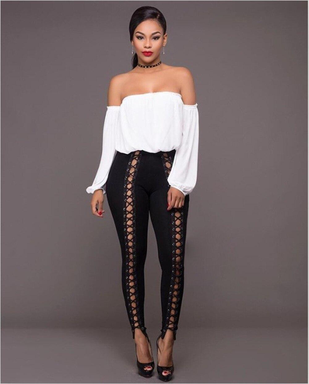 American hot black white bodysuit women legging full length fashion rompers women jumpsuit clubwear 9687
