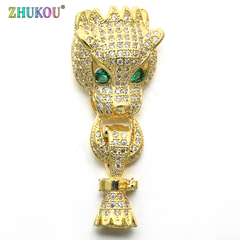 14*35mm Brass Cubic Zirconia Lepoard Clasps Hooks for Diy Jewelry Findings Accessories, Mixed Color, Model: VK68