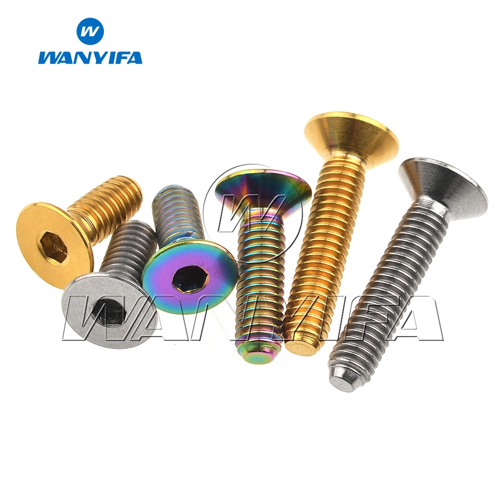 Wanyifa M4x8 10 15 20mm Countersunk Head Titanium Bolt Screw for Bicycle Pedal