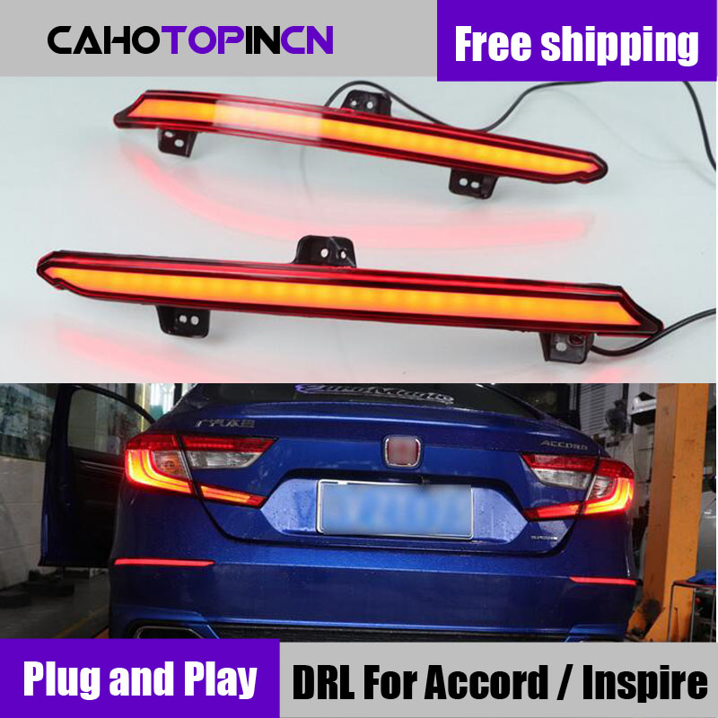 For Honda Accord Inspire 2018 2019 plug play Car LED Rear Fog Lamp Brake Light Dynamic