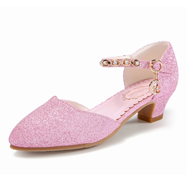 Princess Girls Sandals Kids Shoes For Girls Dress Shoes Little High Heel Glitter Summer Party Wedding Children Shoe
