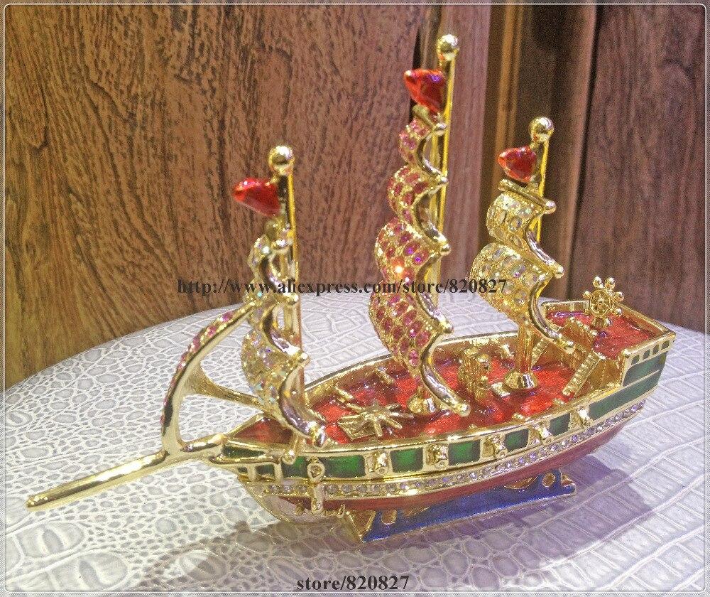 Корабль эмаль фигурка с кристаллами безделушка таблетки коробка ювелирных изделий корабль лодка с парусами горный хрусталь Bling Коллекцион