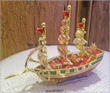 Корабль эмаль фигурка с кристаллами безделушка таблетки коробка ювелирных изделий корабль лодка с парусами Стразы Bling Коллекционная шарнирная безделушка