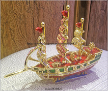 Ship Enamel Figurine with Crystals Trinket Pill Jewelry Box Ship Boat With Sails Rhinestone Bling Collectible Hinged Trinket