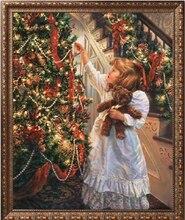 Набор для вышивки «сделай сам», милая Рождественская Детская Вышивка для девочек, наборы для вышивки крестиком 14 шт., картина маслом без рисунка, домашний декор, искусство