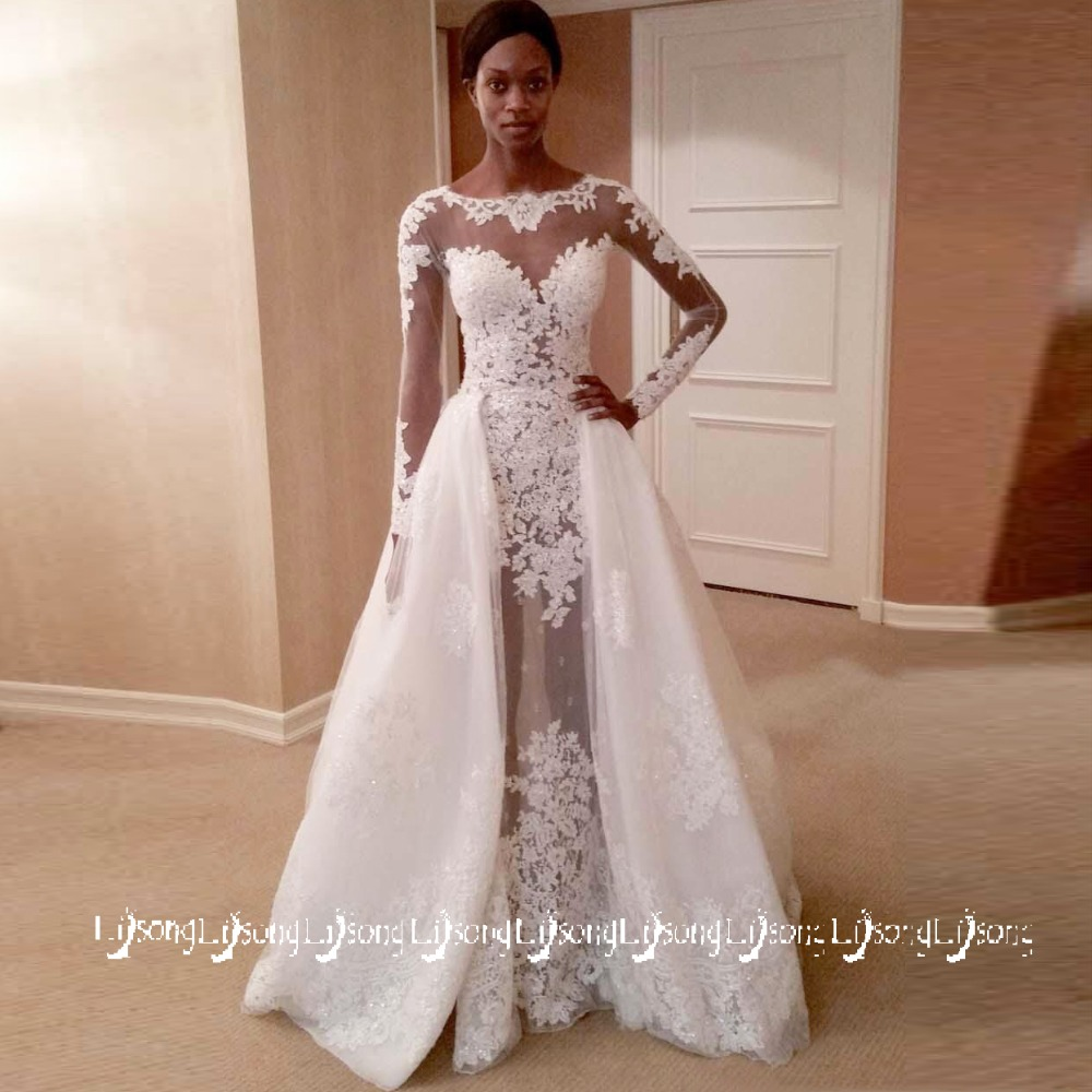 White Lace Wedding Dress: Charming White Lace Appliques Full Sleeves A Line Wedding
