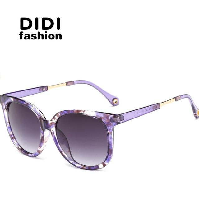 e830f8fd7a7 DIDI 2017 Big Round Polarized Sunglasses Women Men Tranparent Frame Flower  Print Sun Glasses Cat Small