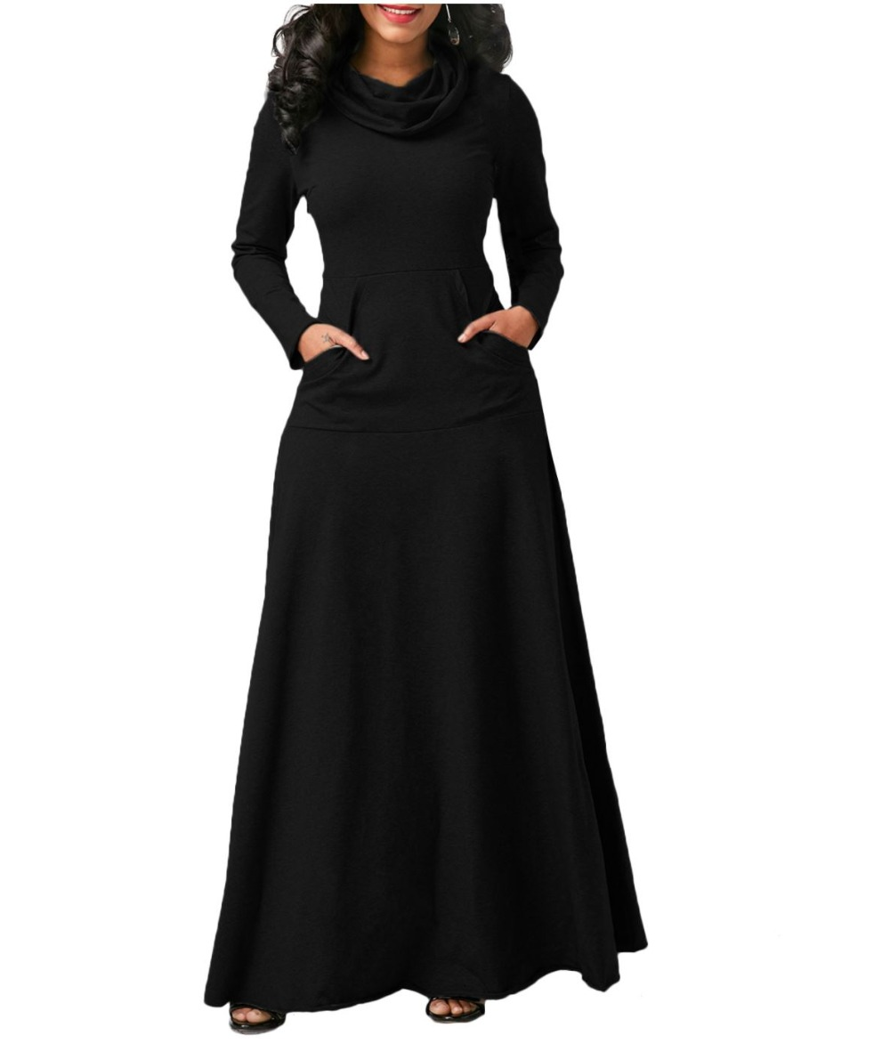 Woman Turtleneck Solid Color Floor Length Dress Lady Cotton High Quality Empire Waist Long Sleeve Elegant Dresses in Dresses from Women 39 s Clothing