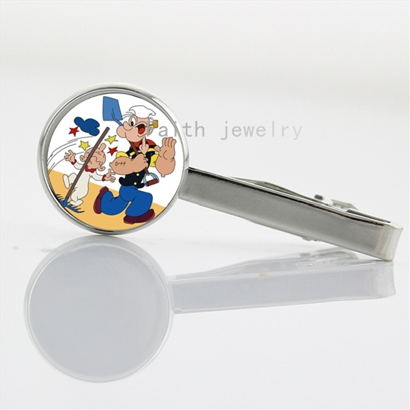 New Sailor Cartoon Popeye Sailor Man accessories Glass Cabochon Novelty Interesting tie clip NS460