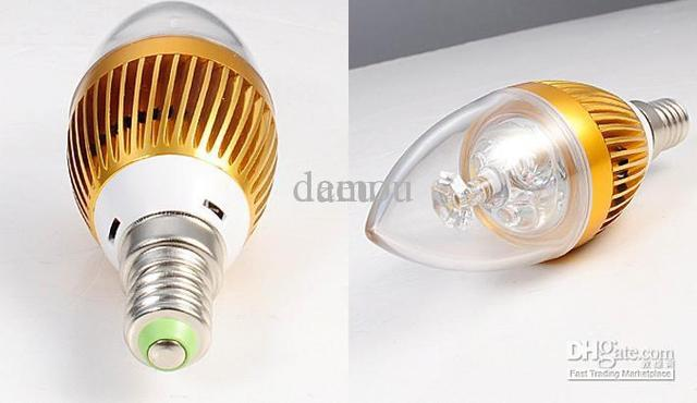 3w High Power LED Candle Light Bulb warm white AC85~265V With Free shipping