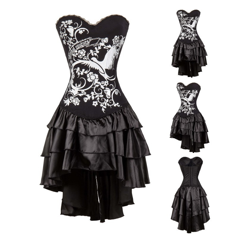 Gold/Silver Gothic Burlesque Corset Dress Phoenix Printed Boned Lace Up Bustier with Attench Skirt