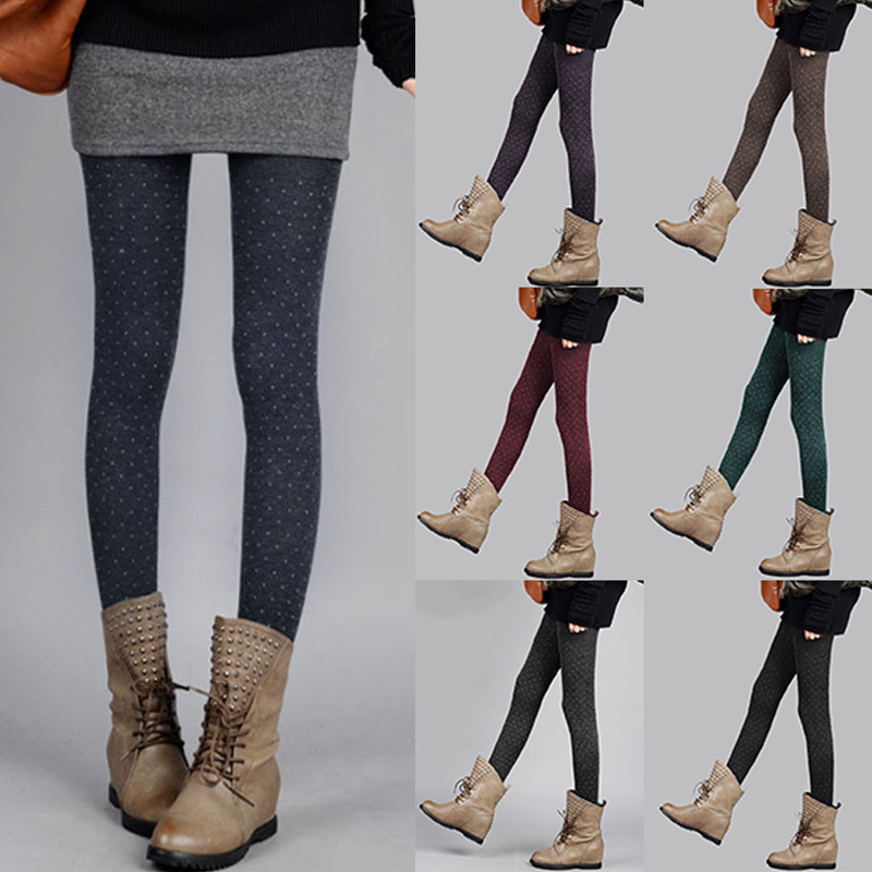 7 Colors Women Cashmere Dot Tights Thick Warm Soft Knitted Pantyhose Autumn Winter Girl Sexy Super Elastic Slim Collant Femme