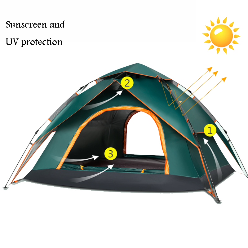 3-4 Person Automatic Pop Up Tent Double Layers Waterproof Camping Tent Outdoors Camping Equipment Fishing Tents Outdoor 3