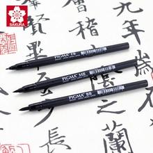 цена Sakura Picma Calligraphy Brush 3Pcs/Set S M L Soft Hook Line Pen Lettering Signature Sketch Drawing Fineliner Pens Art Suppllies онлайн в 2017 году