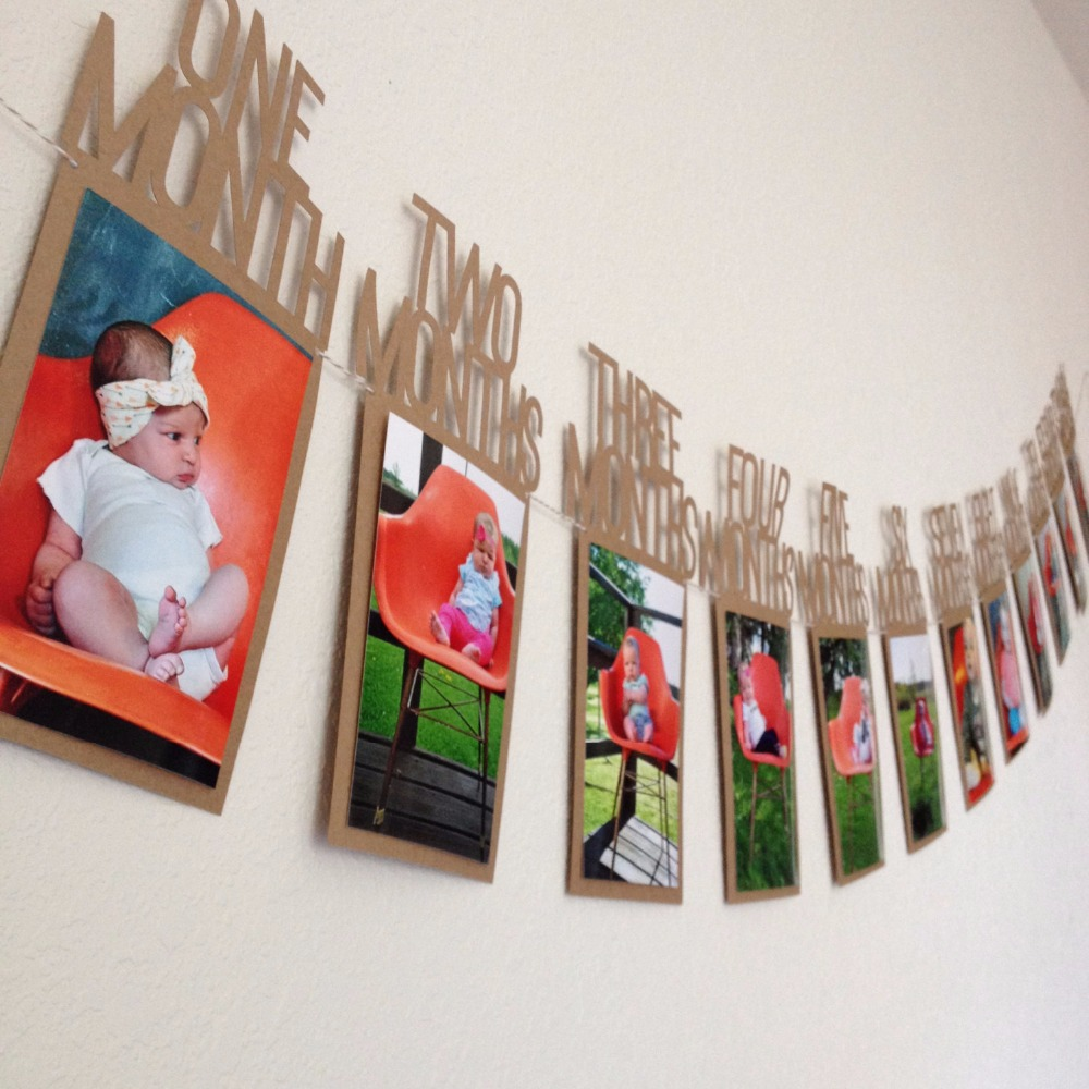 diy monthly paper 1st one year photo booth birthday banner baby photos show photo frame photos