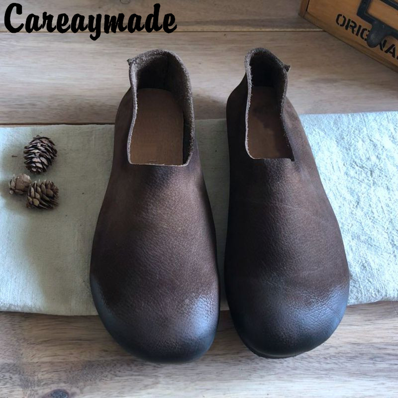 Careaymade-New Spring&summer Female Literature And Art Handmade Retro Round Doll Lazy Shoes,low Shallow Women Real Leather Shoes